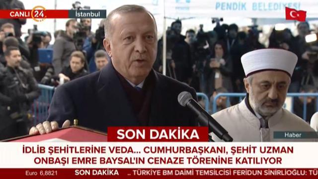Başkan Erdoğan İdlib şehidimiz Emre Baysal'ın cenaze törenine katıldı
