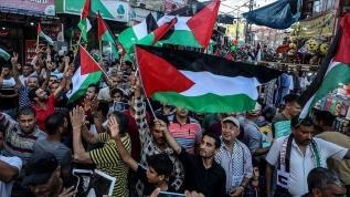 Filistinli gruplar Gazze'de İsrail'in 'İlhak' planına karşı yürüdü