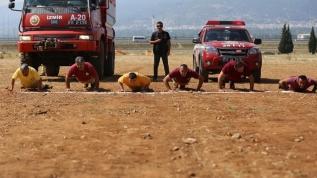 """Ateş savaşçıları"""" güne sporla başlıyor"""