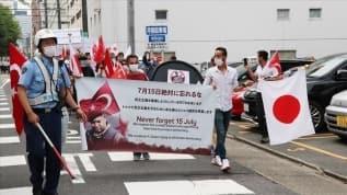 Japonya'da FETÖ'ye ait okulun önünde terör örgütü protestosu