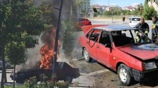 Kırmızı ışıkta bekleyen araba bomba gibi patladı! Şükür yaralanan olmadı