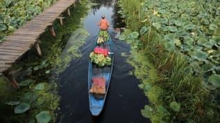 Cammu Keşmir bölgesinde Dal Gölü'nde teknelerle sebze satışı