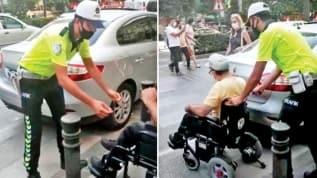 Polis, Adana'da kaldırıma araç park eden ve engelli vatandaşın geçmesine engel olan araç sürücüsüne cezayı yazdı