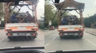 Bursa'da kamyonet kasasındaki skandal görüntülere ceza