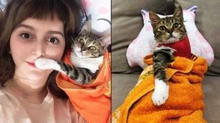 Bacağı kesilen kedisiyle fenomen oldu