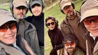 Hande Subaşı erkek arkadaşı Alican Ulusoy ve Mustafa Ceceli atışla stres attılar