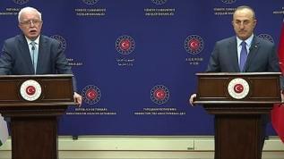 Dışişleri Bakanı Çavuşoğlu Filistinli mevkidaşı ile açıklama yaptı