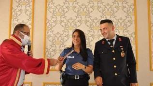 Jandarma damat ve polis gelin nikah masasına üniforma ile oturdu