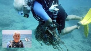 27 metre derinliğe hayalet ağ dalışı! Oksijeni bitinceye kadar temizlik yaptı