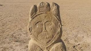 Türk dönemine ait taş heykel bulundu