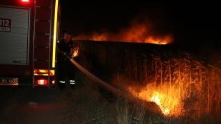Edirne'de anız yangını