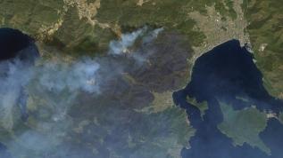 Yangın felaketi uzaydan görüntülendi