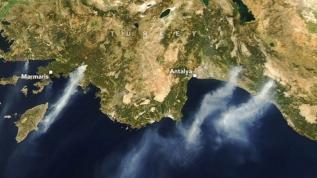 NASA uydusu ile Türkiye'deki yangınları görüntüledi